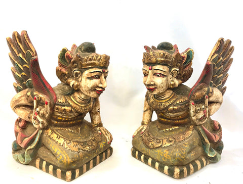 Bidadari Winged Dewi Goddess Balinese Temple Statue set Carved Wood Balinese Art - Acadia World Traders