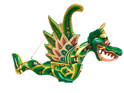 Winged Flying Dragon Naga Mobile Spirit Demon Chaser Handmade Bali Art Green - Acadia World Traders