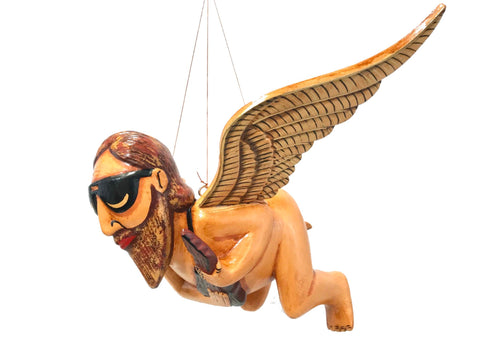 Balinese Flying Jerry Garcia Angel Mobile Cradle Guardian Carved wood Bali art - Acadia World Traders