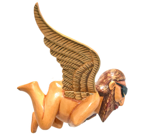 Balinese Flying Jerry Garcia Angel Mobile Cradle Guardian Carved wood Bali art