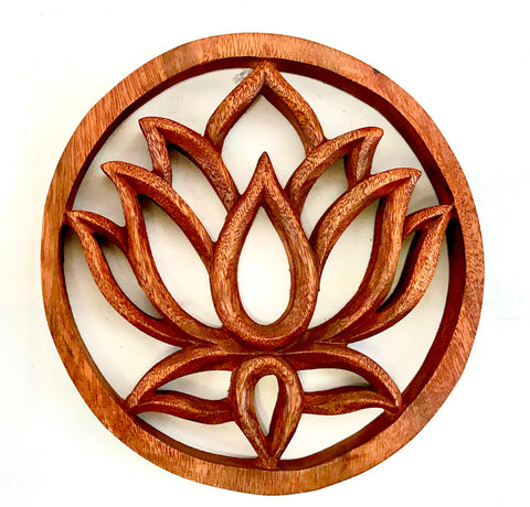 Balinese Boho Chic Wall Art Plaque Trivet Lotus Hamsa Horus Hand Carved wood 8""