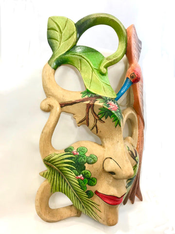 "Balinese Bird of Paradise Goddess Dream Mask Wood Carving Wall Decor Art 9"" - Acadia World Traders"