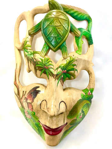 Balinese Sea Turtle Ocean Goddess Dream Mask Wood Carving Wall Decor Art 9""