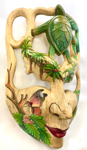 "Balinese Sea Turtle Ocean Goddess Dream Mask Wood Carving Wall Decor Art 9"" - Acadia World Traders"