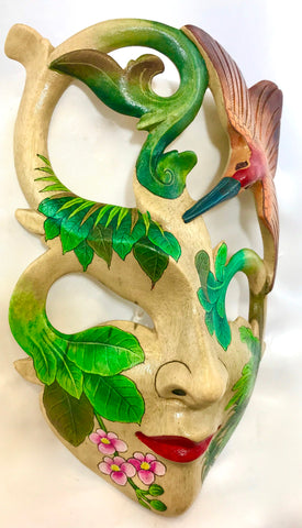 "Balinese Jungle Queen Goddess Dream Mask Wood Carving Wall Decor Art 9"" - Acadia World Traders"