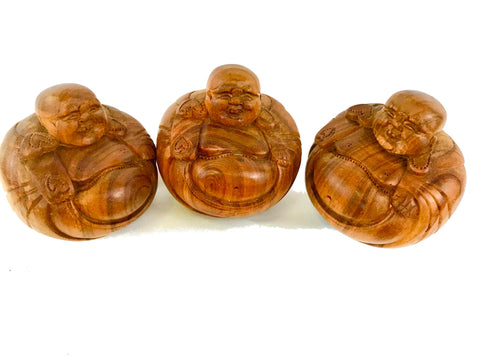 Hotei Laughing Buddha Statue Sculpture hand carved wood Bali Art - Acadia World Traders