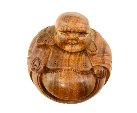 Hotei Laughing Buddha Statue Sculpture hand carved wood Bali Art