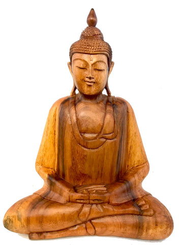 Dhyana Pose Buddha Meditating Statue Hand Carved wood Sculpture Balinese Art - Acadia World Traders