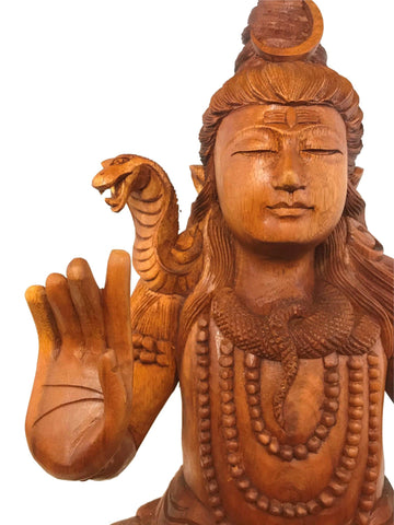 Seated Lord Shiva w/ Cobra Hand carved wood sculpture Balinese Hindu art - Acadia World Traders
