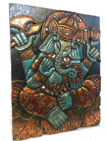Blue Lotus Pose Ganesha Carved Wood Wall Art Sculpture Panel