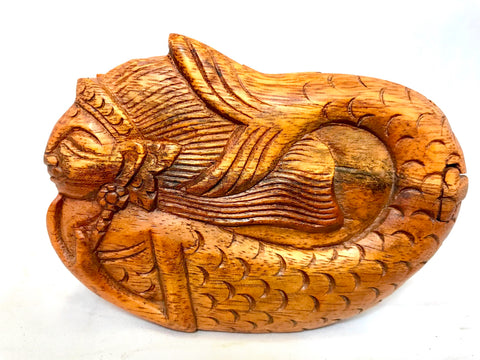 Mermaid Sea Maid Secret Puzzle Box Hand Carved Wood