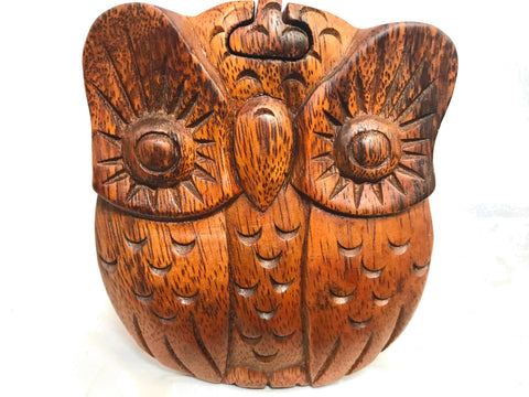 Horned Owl Box Secret Puzzle Stash box Hand Carved Wood