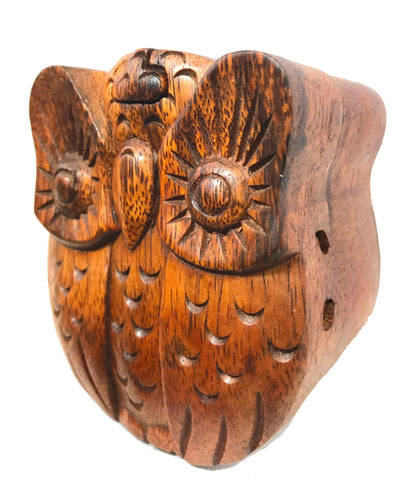 Horned Owl Box Secret Puzzle Stash box Hand Carved Wood - Acadia World Traders