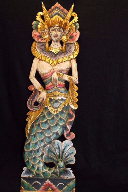 Balinese Mermaid Panel Hand Carved Wood Dewi Duyung Goddess Bali folk Wall Art - Acadia World Traders