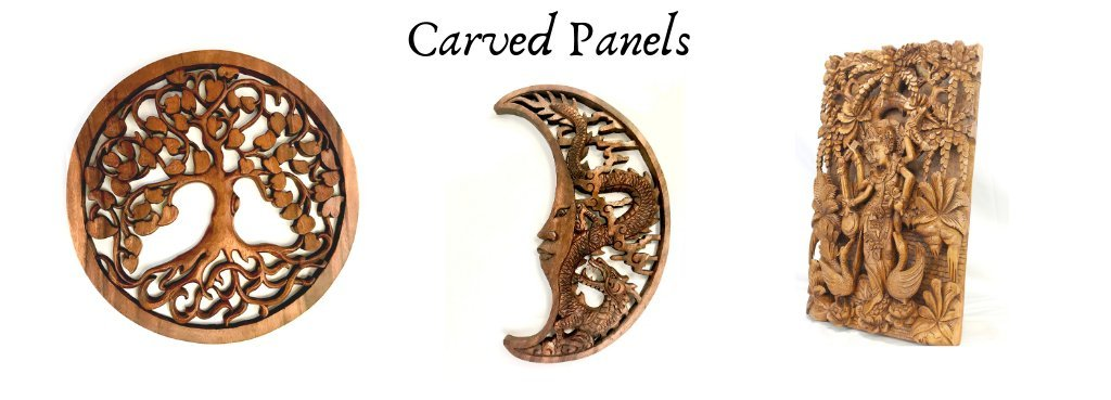 Hand carved wall art panels