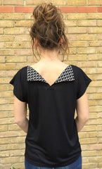 Black flap t-shirt back view