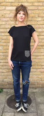 Black flap t-shirt front view