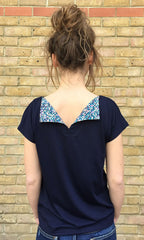 Navy flap t-shirt back view