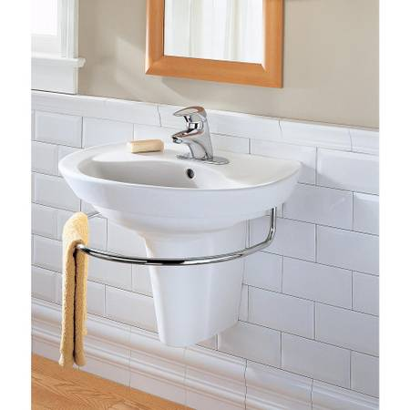 American Standard Ravenna Wall-Mounted Pedestal Combo Bathroom Sink in White