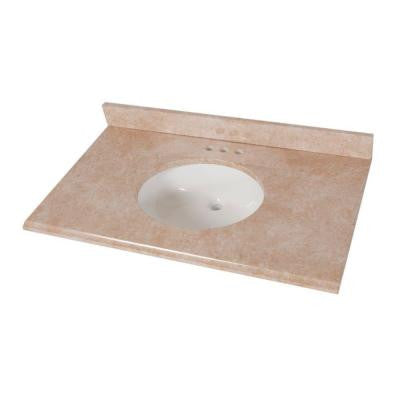 37 in. Stone Effects Vanity Top in Oasis with White Bowl