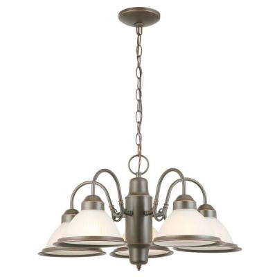 Halophane 5-Light Oil Rubbed Bronze Chandelier