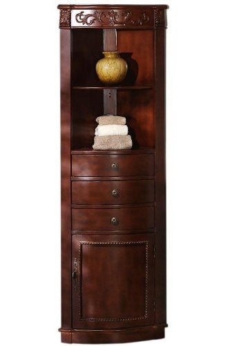 Chelsea 67.5 in. H x 22 in. W Corner Linen Cabinet in Antique Cherry