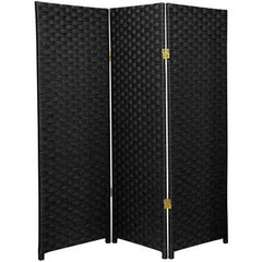 3 Panel Room Divider, 4-Feet tall Rattan Folding Privacy Screen, Black
