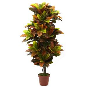 Nearly Natural 6721 Real Touch Croton Artificial Plant, 56-Inch, Green/Orange