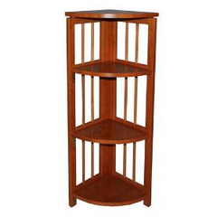 "Casual Home Folding 38"" Corner Bookcase 4 Shelves 100% Solid Wood Book Shelves"