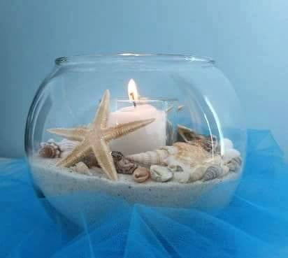 Romantic Candle, Sand, Shells and Vase * Complete Kit