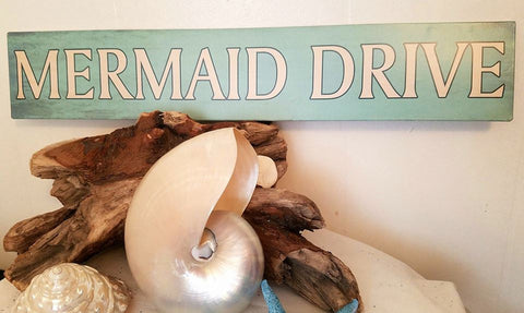 "MERMAID DRIVE Sign * Metal * 20"" Wide x 3 3/4"" Tall"