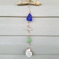 COASTAL ELEGANCE SUN CATCHERS!  DRIFTWOOD, SEA GLASS & SEA TREASURES Sun Catchers!