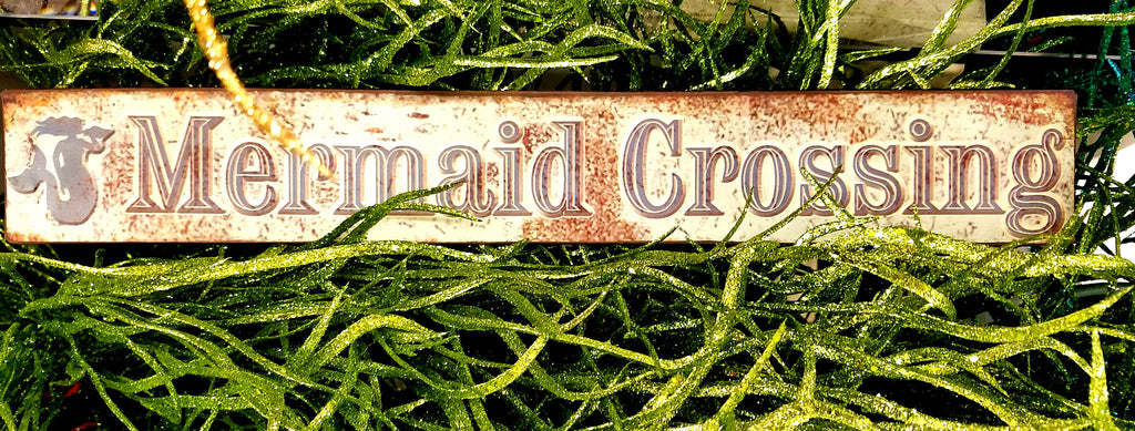 MERMAID CROSSING Metal Sign * LONG  1 & 1/2 ft wide!