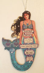 "BEAUTIFUL BEDAZZLED MERMAID LOVE or INSPIRE ORNAMENT * 8"" Long"
