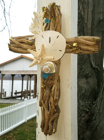 COASTAL DRIFTWOOD CROSS  * COASTAL ACCENTS