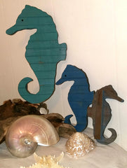 "Set of 3 Wood Seahorses, 13"" , 9"", & 7"""