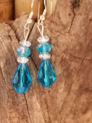OCEAN BLUE Crystal Borealis Faceted Teardrop Earrings