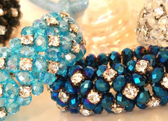 SHIMMERING RHINESTONES & FACETED GLASS BEAD BRACELETS!