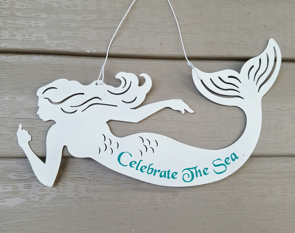 "Metal Hanging Mermaid 10 3/4"" Wide"