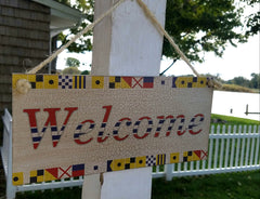 "NAUTICAL WELCOME SIGN  12 1/2"" X 5 1/2"""