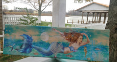 "LARGE MERMAID ON CANVAS 34"" WIDE"
