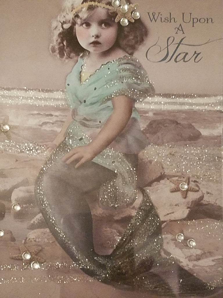Vintage Style Young Mermaid Print * SWAROVSKI CRYSTAL ACCENTS - Wish Upon a Star