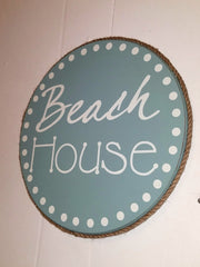 BEACH HOUSE * ROUND WOOD SIGN * 1ft Diameter!