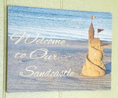 """Welcome to Our (My) Sandcastle"" Accented with SWAROVSKI Crystal - Wood Sign or Print"