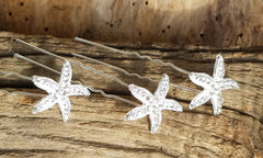 6 RHINESTONE STUDDED STARFISH  HAIR PINS! BEACH WEDDING SET OF 6