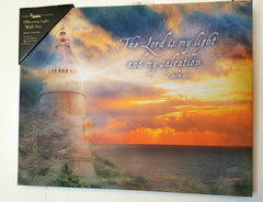 Beautiful Flickering Lighthouse Canvas Psalm 27:1