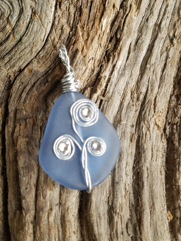 SEA GLASS PENDANT w/SWAROVSKI CRYSTALS!