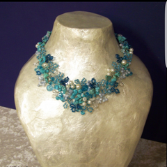 "BLUES AND TURQUOISE BEADED NECKLACE 16"" LONG"
