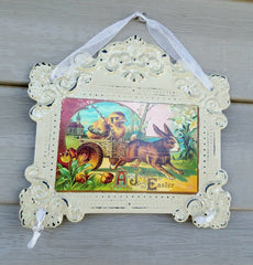 SET OF 5 VINTAGE STYLE EASTER TIN  WALL ART!