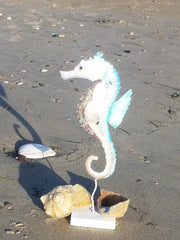 "16"" TALL * METAL and CAPIZ SHELL SEAHORSE *"